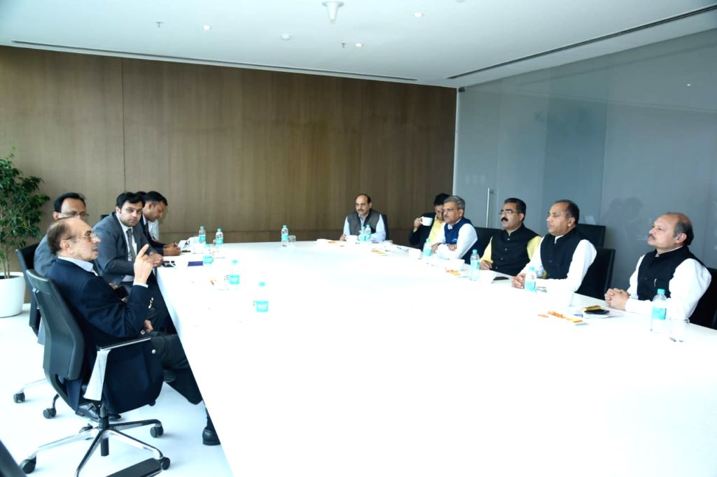 Mumbai: Himachal Pradesh Chief Minister Jai Ram Thakur holds a meeting with Godrej Group Chairman Adi Godrej, in Mumbai on June 27, 2019. (Photo: IANS) - Jai Ram Thakur