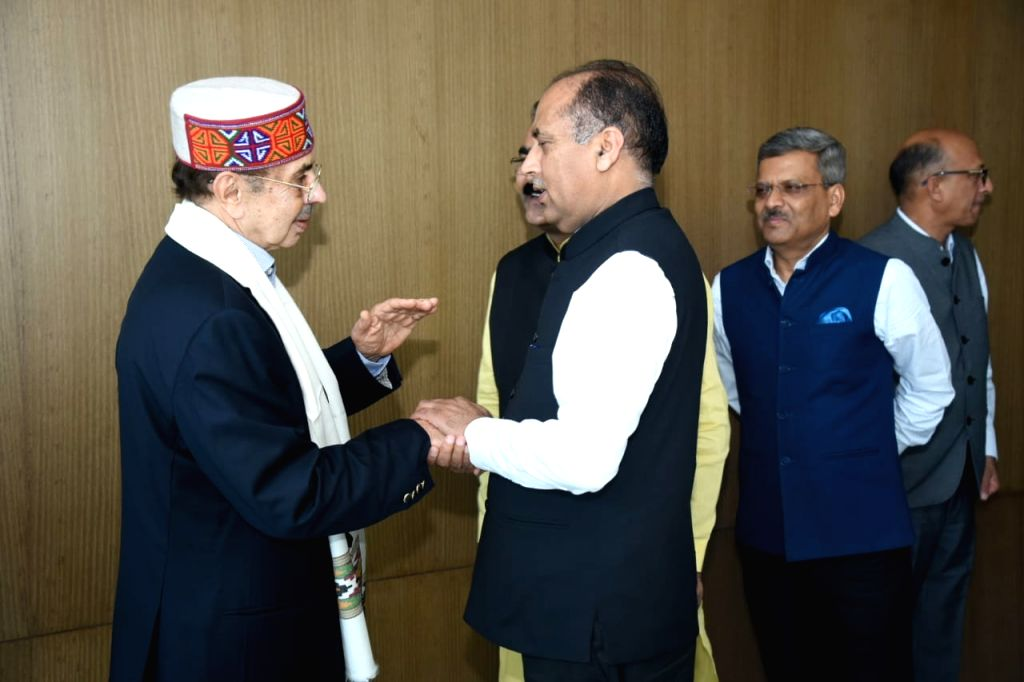 Mumbai: Himachal Pradesh Chief Minister Jai Ram Thakur meets Godrej Group Chairman Adi Godrej, in Mumbai on June 27, 2019. (Photo: IANS) - Jai Ram Thakur