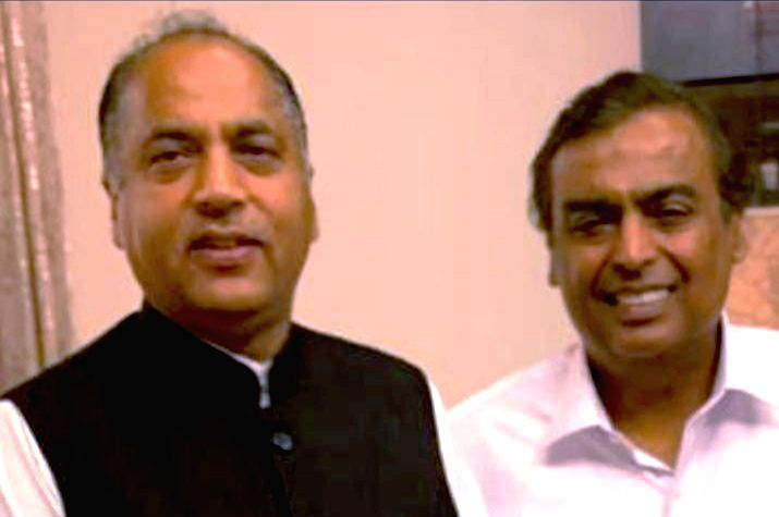 Mumbai: Himachal Pradesh Chief Minister Jai Ram Thakur meets Reliance Industries Chairman Mukesh Ambani in Mumbai on June 27, 2019. The CM invited the Reliance Group to participate in the maiden global investors meet being organized by the state gove - Jai Ram Thakur and Mukesh Ambani