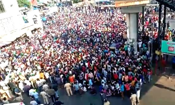 Mumbai: In a shocking development, around 3000-plus stranded migrants from different parts of India crowded near Bandra railway station demanding that they should be given transportation facilities to return to their native places immediately, in Mum