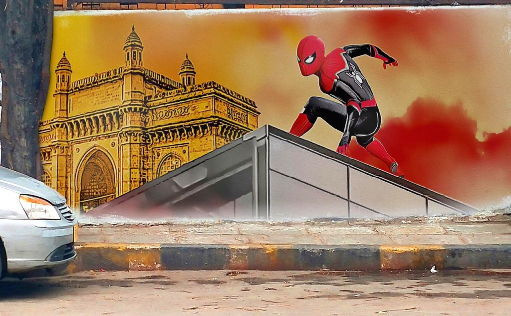 """Mumbai: In anticipation of Tom Holland's """"Spider-Man: Far From Home"""" which is yet to release in India, students of art painted Spider-Man graffiti art on the streets of Mumbai last week. Some art students in Bengaluru and Pune also brought their vers"""
