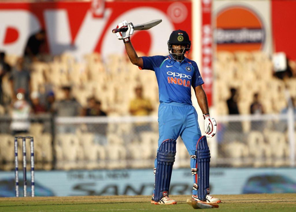 Mumbai: India's Ambati Rayudu celebrates his century during the fourth ODI match between India and West Indies, at Brabourne Stadium in Mumbai, on Oct 29, 2018. (Photo: Surjeet Yadav/IANS) - Surjeet Yadav