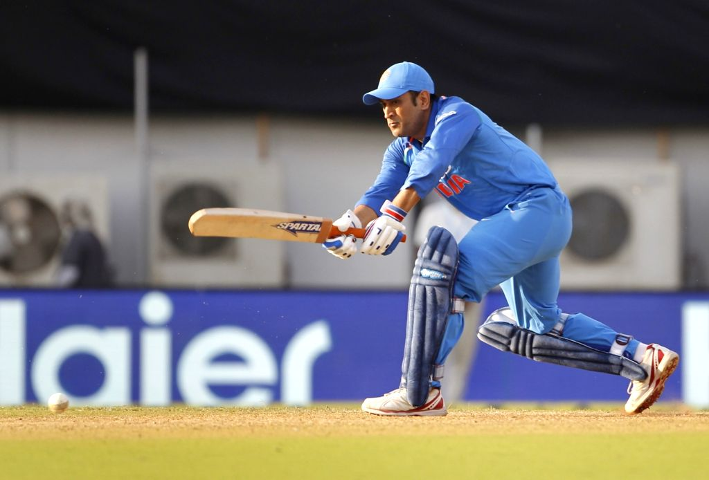 :Mumbai: India's M.S. Dhoni in action during the fourth ODI match between India and West Indies, at Brabourne Stadium in Mumbai, on Oct 29, 2018. .