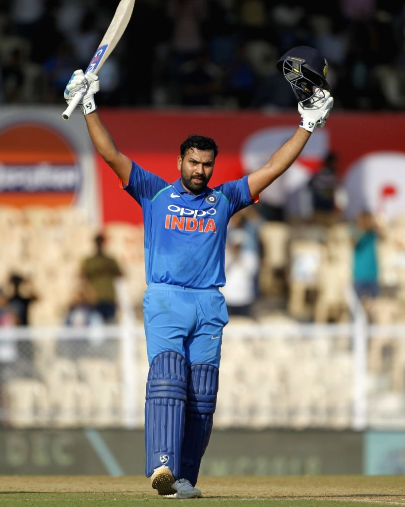 : Mumbai: India's Rohit Sharma celebrates his century during the fourth ODI match between India and West Indies, at Brabourne Stadium in Mumbai, on Oct 29, 2018. .