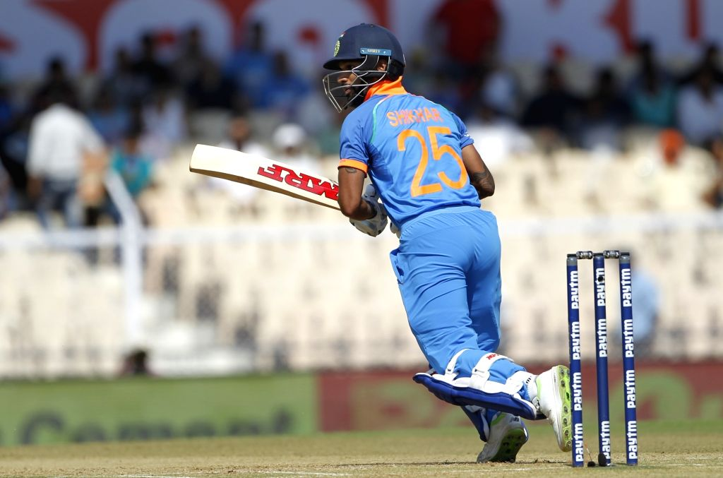 :Mumbai: India's Shikhar Dhawan in action during the fourth ODI match between India and West Indies, at Brabourne Stadium in Mumbai, on Oct 29, 2018. .