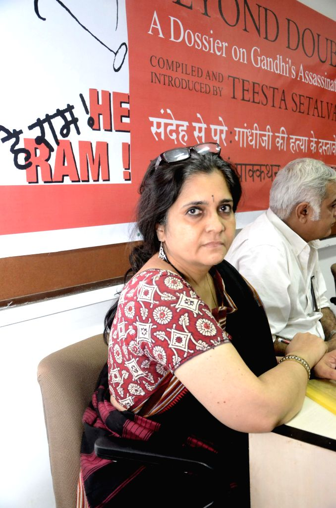 Indian civil rights activist Teesta Setalvad at the launch of a dossier on Mahatma Gandhi's assassination at the Press Club in Mumbai, on March 16, 2015.