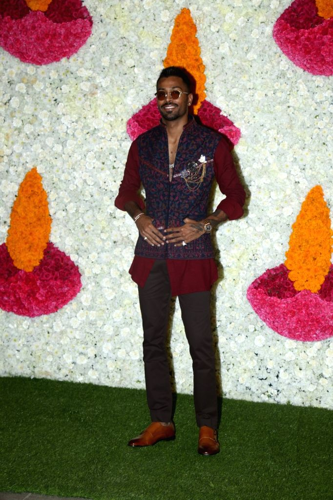 Mumbai: Indian cricketer Hardik Pandya at a Diwali party hosted by Reliance Industries Chairman Mukesh Ambani and his wife Nita Ambani in Mumbai on Oct 24, 2019. (Photo: IANS) - Mukesh Ambani and Nita Ambani