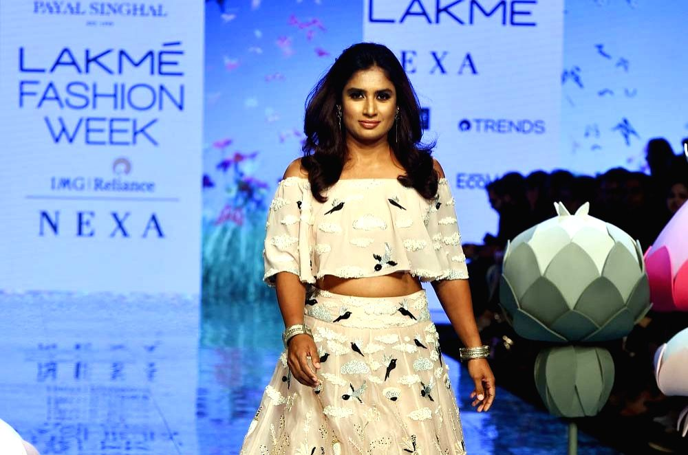 Mumbai: Indian national women's cricket team captain and showstopper Mithali Raj walks the ramp for fashion designer Payal Singhal during a show presented in association with Corcal Bone & Beauty at Lakme Fashion Week Summer/Resort 2020, in Mumbai. (