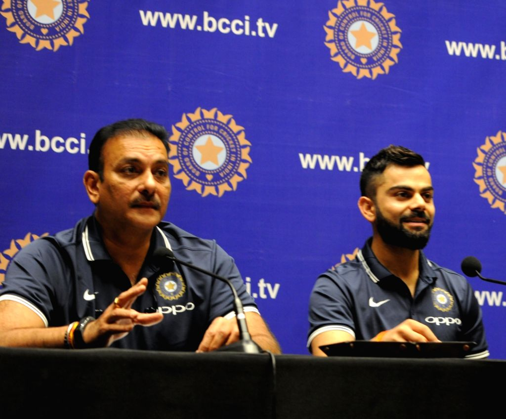 Mumbai: Indian skipper Virat Kohli and coach Ravi Shastri addresses a press conference ahead of the ODI series in South Africa; in Mumbai on Dec 27, 2017. (Photo: IANS) - Virat Kohli
