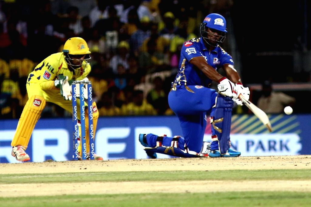 Mumbai Indians' Evin Lewis in action during the 44th match of IPL 2019 between Mumbai Indians and Chennai Super Kings at MA Chidambaram Stadium in Chennai, on April 26, 2019.