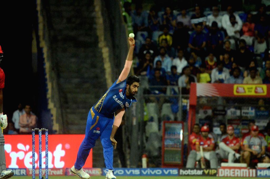 Mumbai Indians Jasprit Bumrah in action during the 24th match of IPL 2019 between Mumbai Indians and Kings XI Punjab at Wankhede Stadium in Mumbai on April 10, 2019.