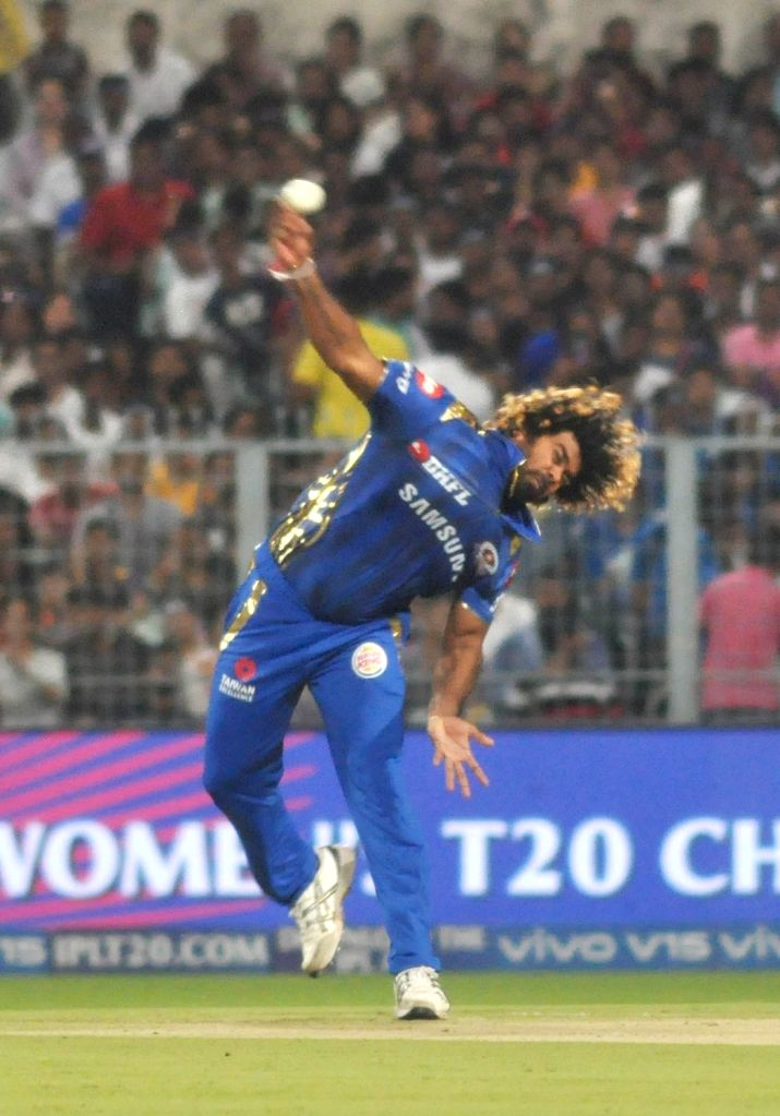 Mumbai Indians' Lasith Malinga in action during the 47th match of IPL 2019 between Kolkata Knight Riders and Mumbai Indians at Eden Gardens in Kolkata, on April 28, 2019.