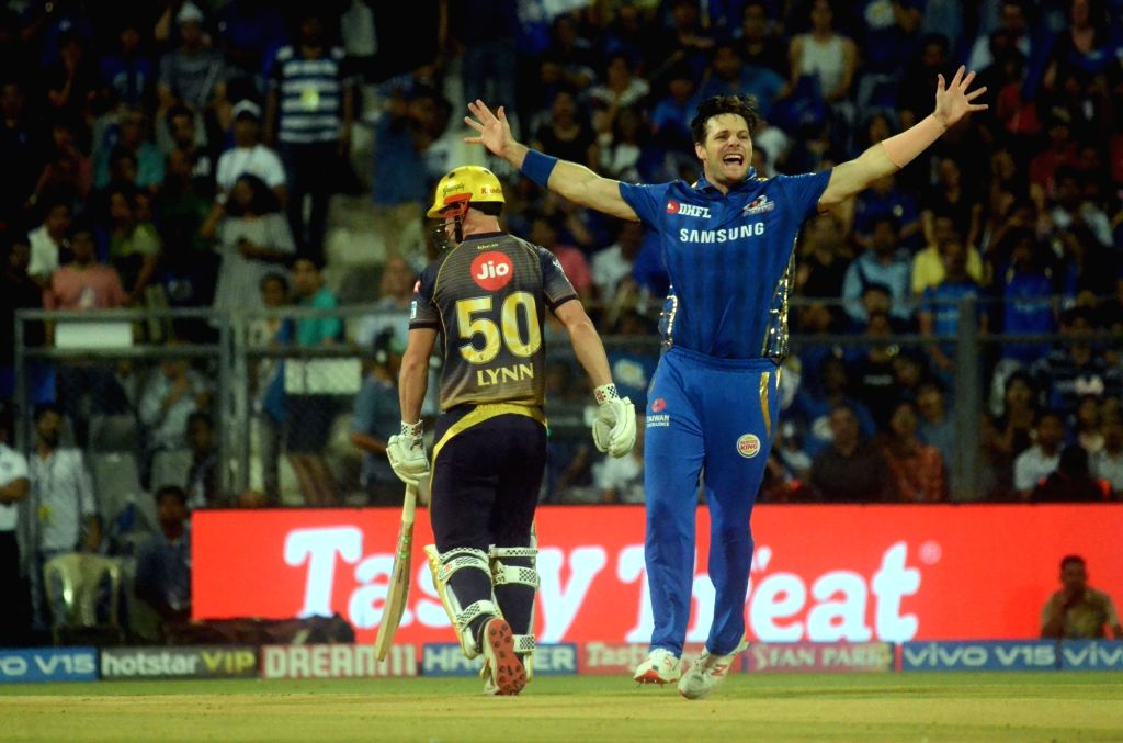 Mumbai Indians' Mitchell McClenaghan appeals during the 56th match of IPL 2019 between Kolkata Knight Riders and Mumbai Indians at Wankhede Stadium in Mumbai, on May 5, 2019.