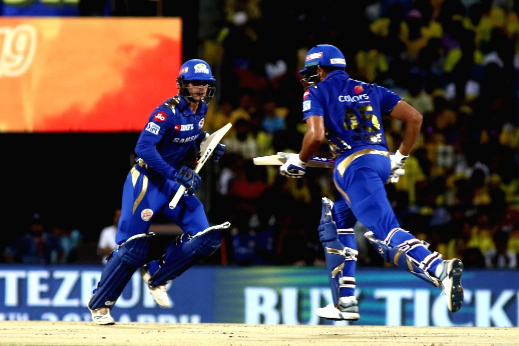Mumbai Indians' Quinton de Kock and Rohit Sharma in action during the 44th match of IPL 2019 between Mumbai Indians and Chennai Super Kings at MA Chidambaram Stadium in Chennai, on April 26, ... - Rohit Sharma