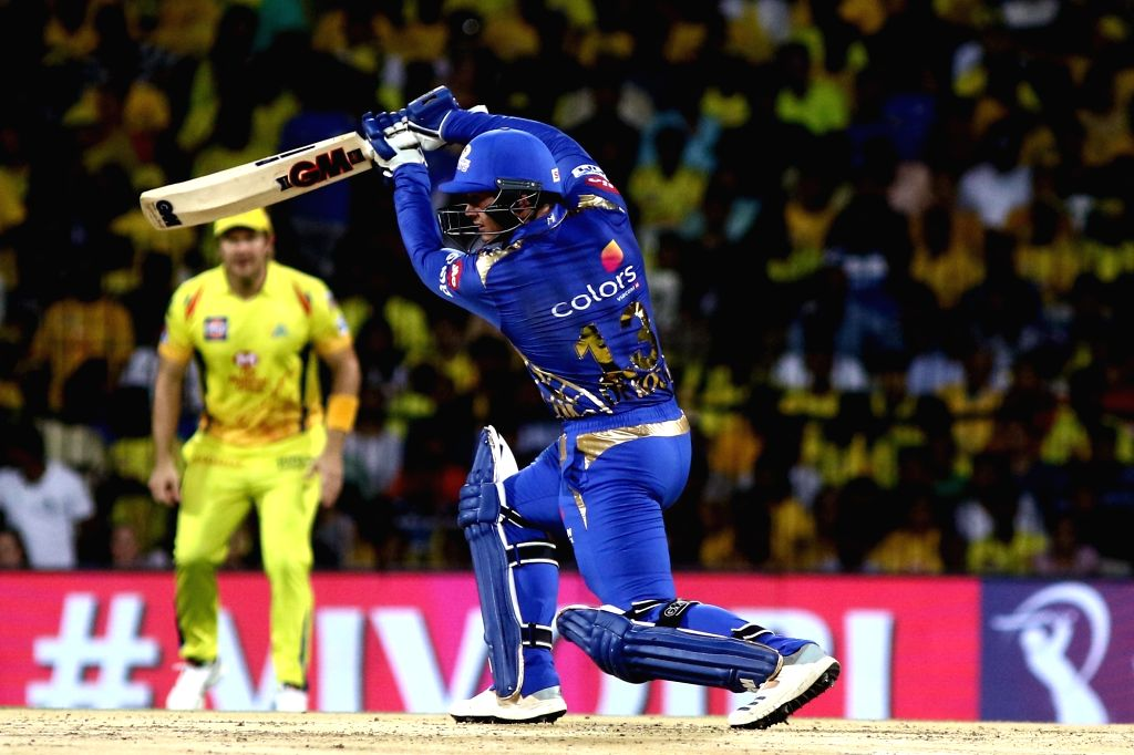 Mumbai Indians' Quinton de Kock in action during the 44th match of IPL 2019 between Mumbai Indians and Chennai Super Kings at MA Chidambaram Stadium in Chennai, on April 26, 2019.
