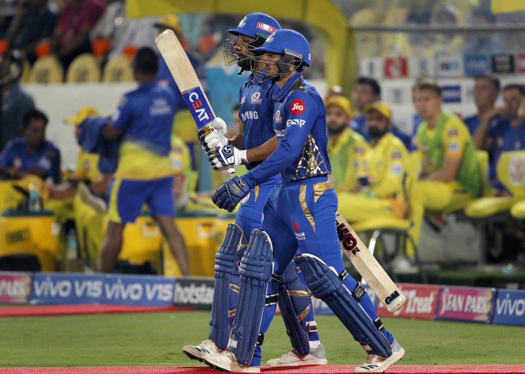Mumbai Indians skipper Rohit Sharma and Quinton de Kock during the Final match of IPL 2019 between Chennai Super Kings and Mumbai Indians at Rajiv Gandhi International Stadium in ... - Rohit Sharma