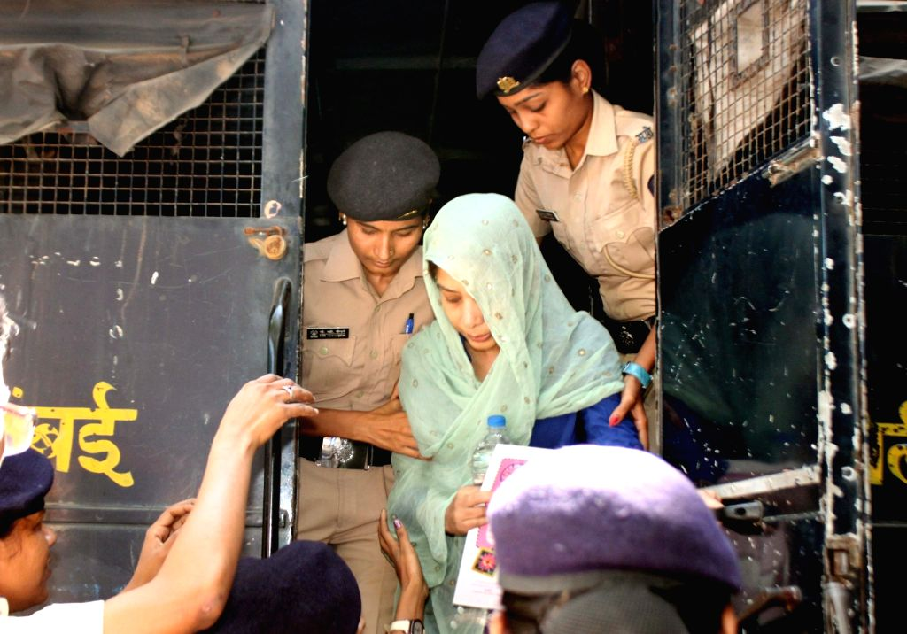 Mumbai: Indrani Mukherjea, suspected accused in Sheena Bora murder case after being produced at a Mumbai Court on Nov 20, 2015. (Photo: IANS)