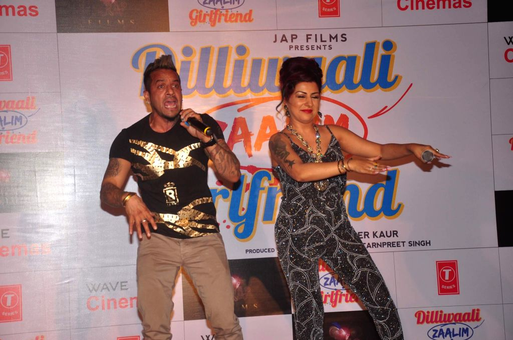 Jazzy B and Hard Kaur during the music launch of film Dilliwali Zaalim Girlfriend in Mumbai on March 9, 2015. - Kaur