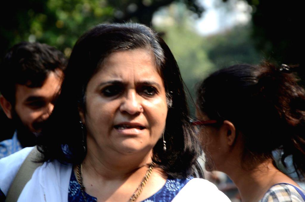 Mumbai: Journalist and activist Teesta Setalvad during the 'Samvidhan Samman Yatra' (SSY) in Mumbai's Dadar on Oct 20, 2018. (Photo: IANS)