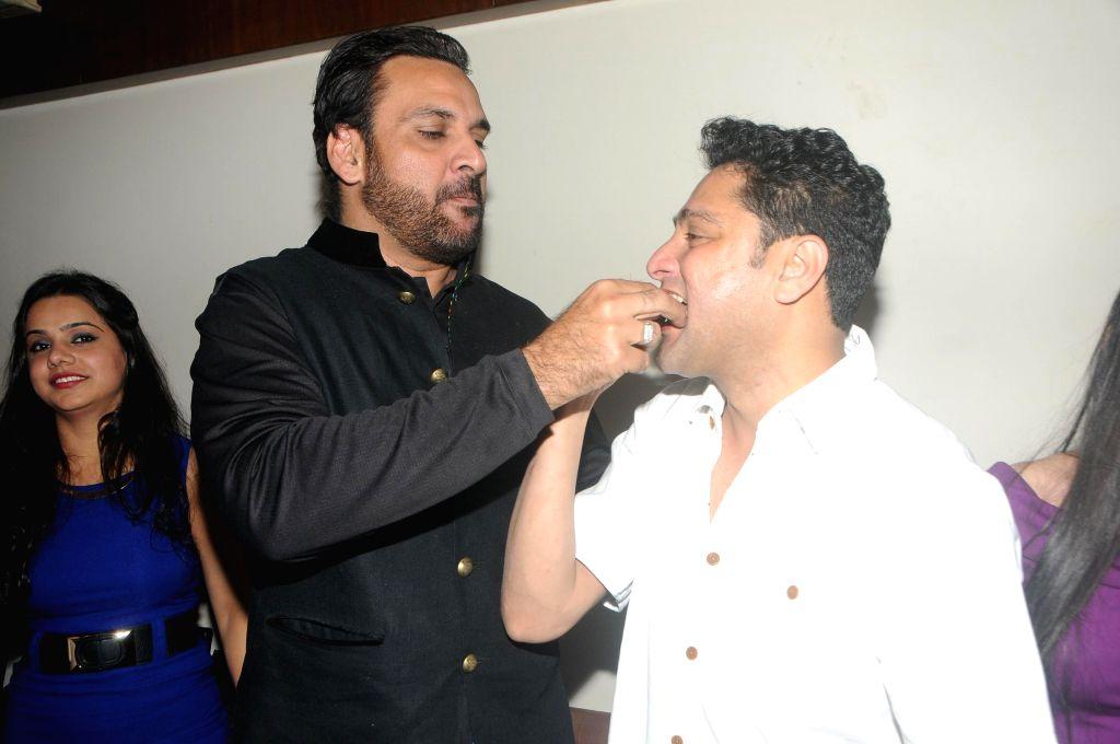 Kaushik Banerjee with Shahbaz Khan during the birthyday of director Kaushik Banerjee in Mumbai on Jan 10, 2015. - Shahbaz Khan