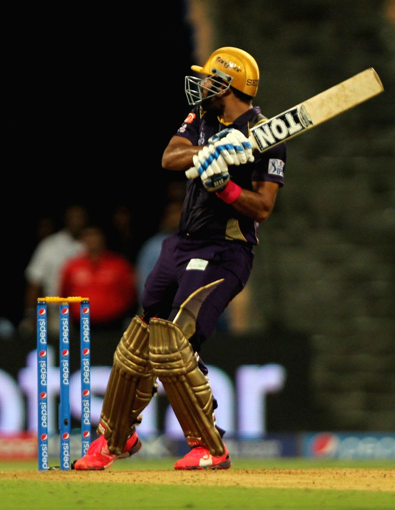 Kolkata Knight Riders batsman Yusuf Pathan in action during an IPL 2015 match between Mumbai Indians and Kolkata Knight Riders at Wankhede Stadium in Mumbai on May 14, 2015. - Yusuf Pathan
