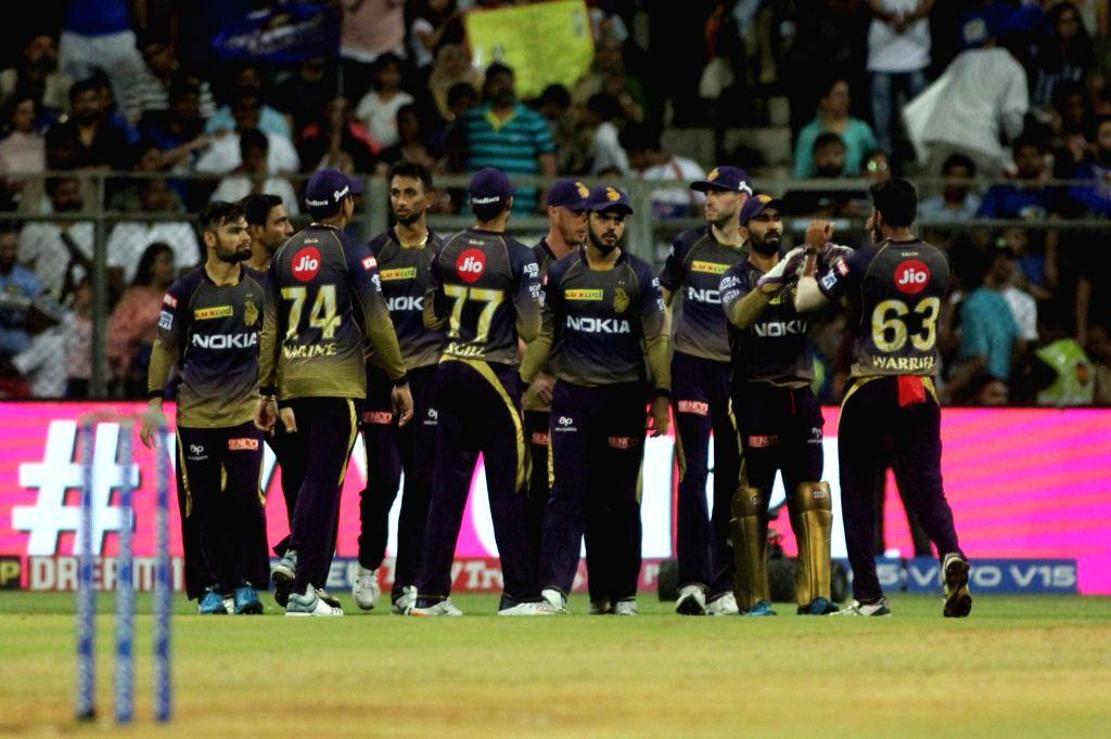 Mumbai: Kolkata Knight Riders' celebrate fall of a wicket during the 56th match of IPL 2019 between Kolkata Knight Riders and Mumbai Indians at Wankhede Stadium in Mumbai, on May 5, 2019. (Photo: IANS)