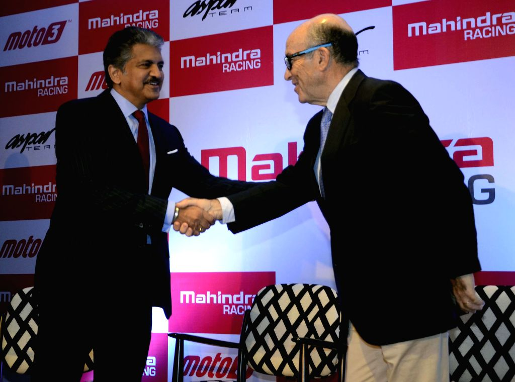 (L to R) Chairman, Mahindra Group, Anand Mahindra and CEO of MotoGP right-holder Dorma Sports, Camelo Ezpeleta during a special event on the announcement of Mahindra Racing`s tie up with ...