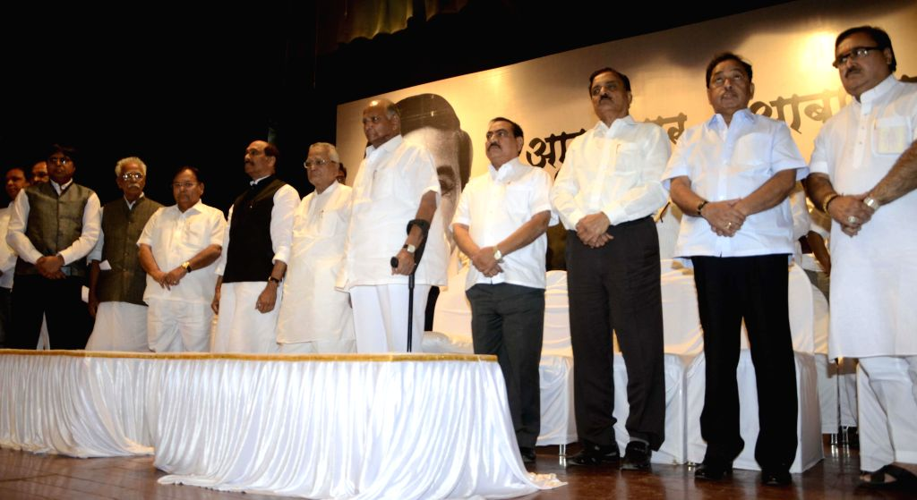Leaders from various political parties including Maharashtra Congress chief Manikrao Thakre, NCP chief Sharad Pawar, Congress leader Narayan Rane during a condolence meet organised in the ...