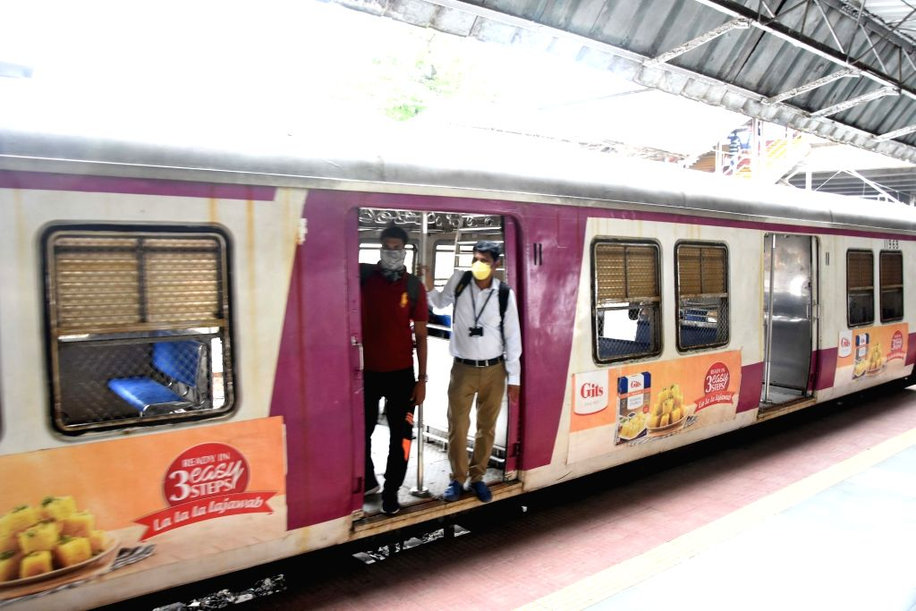 Mumbai: Local trains resume services in the city but only for essential services workers, identified by the Maharashtra government, on June 15, 2020. The Maharashtra government which allowed offices to function with 10-15% staff on 8 June, saw huge c