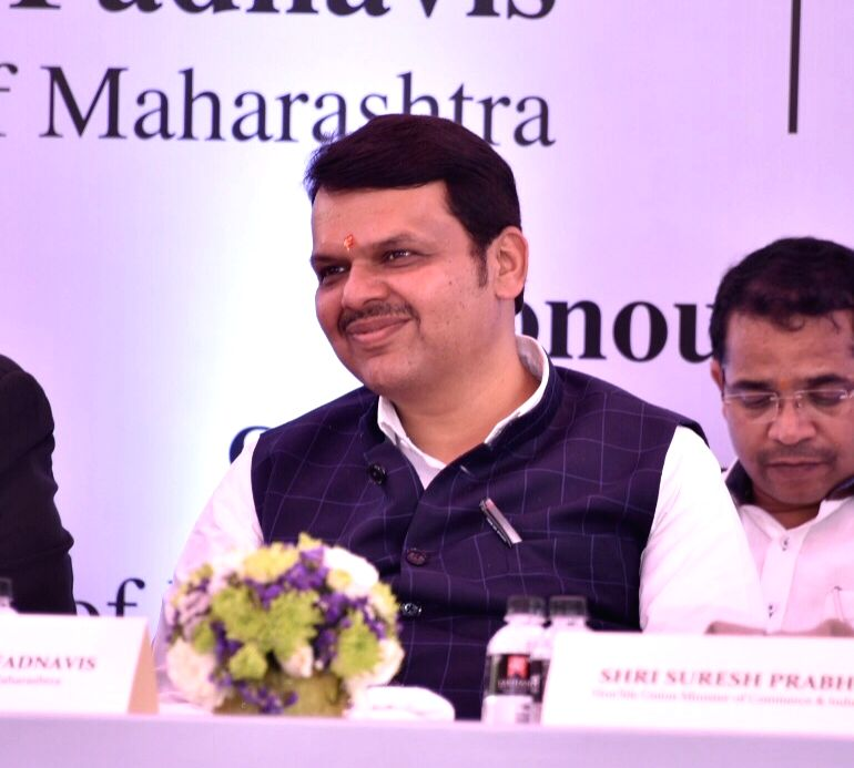 Mumbai: Maharashtra Chief Minister Devendra Fadnavis during the foundation stone laying ceremony for the proposed India Jewellery Park (IJP) in Navi Mumbai on March 5, 2019. (Photo: IANS) - Devendra Fadnavis