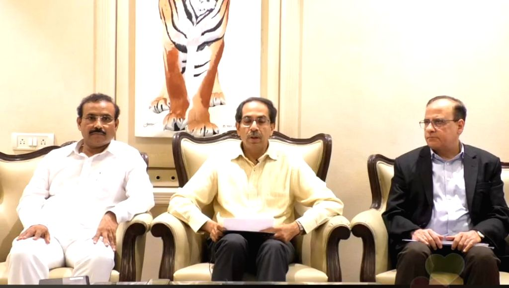 Mumbai: Maharashtra Chief Minister Uddhav Thackeray, Health Minister Rajesh Tope (Left) and Chief Secretary Ajoy Mehta (Right) at a press conference in Mumbai on March 20, 2020. Further tightening the clampdown in the state in view of the growing num - Uddhav Thackeray and Secretary Ajoy Mehta