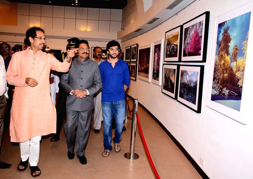 Maharashtra Governor C. Vidyasagar Rao with Shiv Sena Chief Uddhav Thackeray and Yuva Sena chief Aditya Thackeray at Uddhav's photography exhibition organised to raise funds for drought ... - C. Vidyasagar Rao