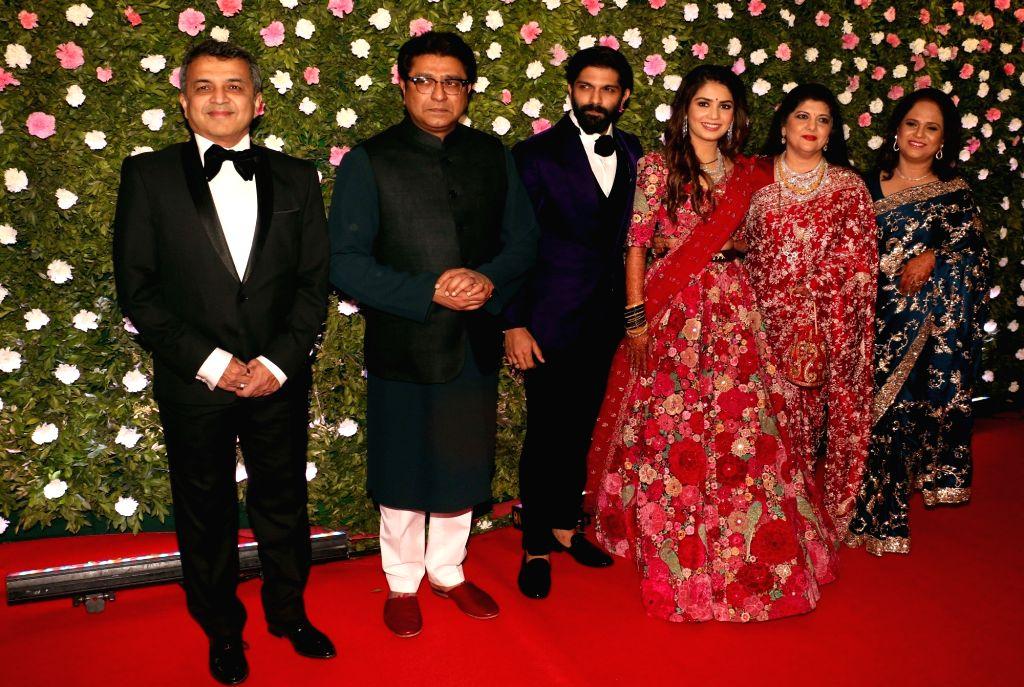 Mumbai: Maharashtra Navnirman Sena (MNS) chief Raj Thackeray and his wife Sharmila at the wedding of their son Amit and fashion designer Mitali Borude in Mumbai on Jan 27, 2019. (Photo: IANS)