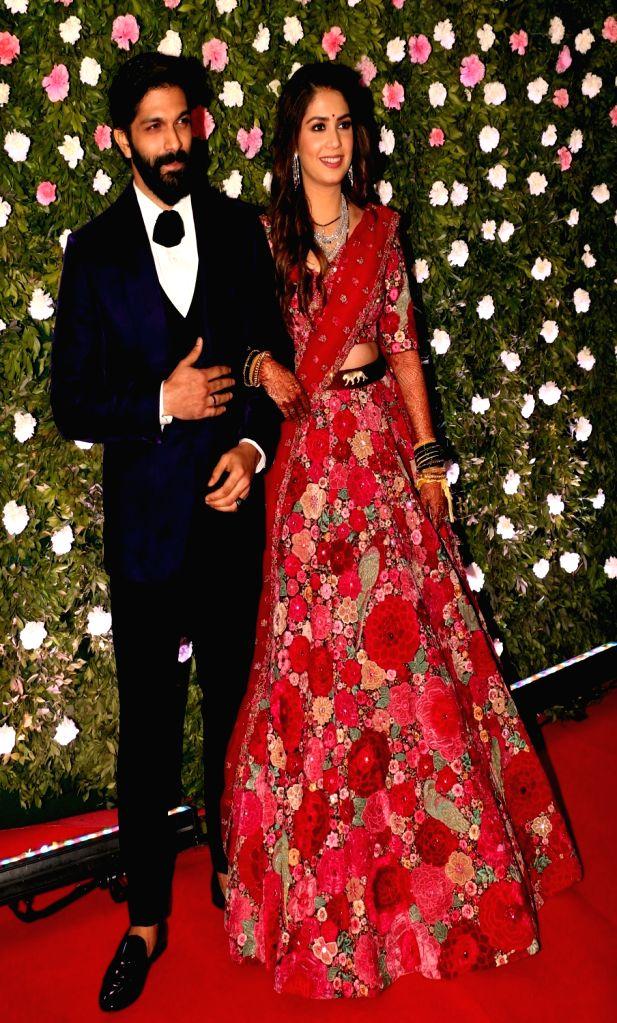 Mumbai: Maharashtra Navnirman Sena (MNS) chief Raj Thackeray's son Amit and his wife fashion designer Mitali Borude at their wedding in Mumbai on Jan 27, 2019. (Photo: IANS)