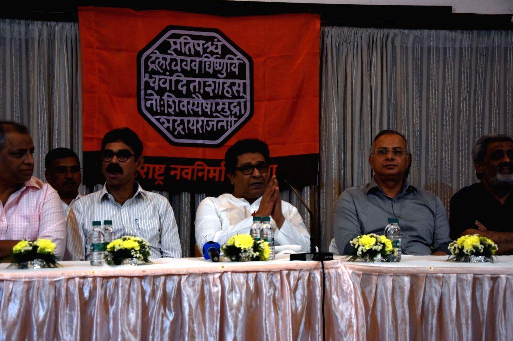 Mumbai: Maharashtra Navnirman Sena (MNS) President Raj Thackeray presides over a meeting with party functionaries ahead of the party's February 9 rally at Azad Maidan; in Mumbai on Jan 27, 2020. On February 9, MNS will take out a procession in Mumbai