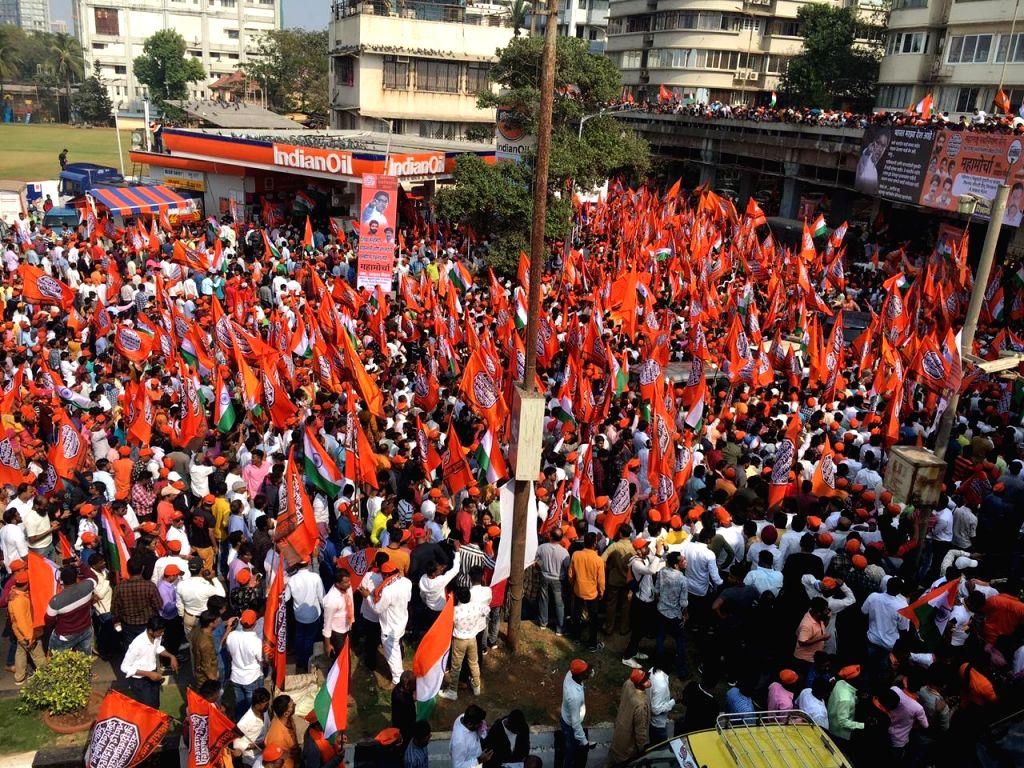 Mumbai: Maharashtra Navnirman Sena (MNS) workers, activists and supporters participate in a mega-morcha (procession) led by MNS President Raj Thackeray demanding the ouster of Pakistani-Bangladeshi infiltrators living in India; in Mumbai on Feb 9, 20