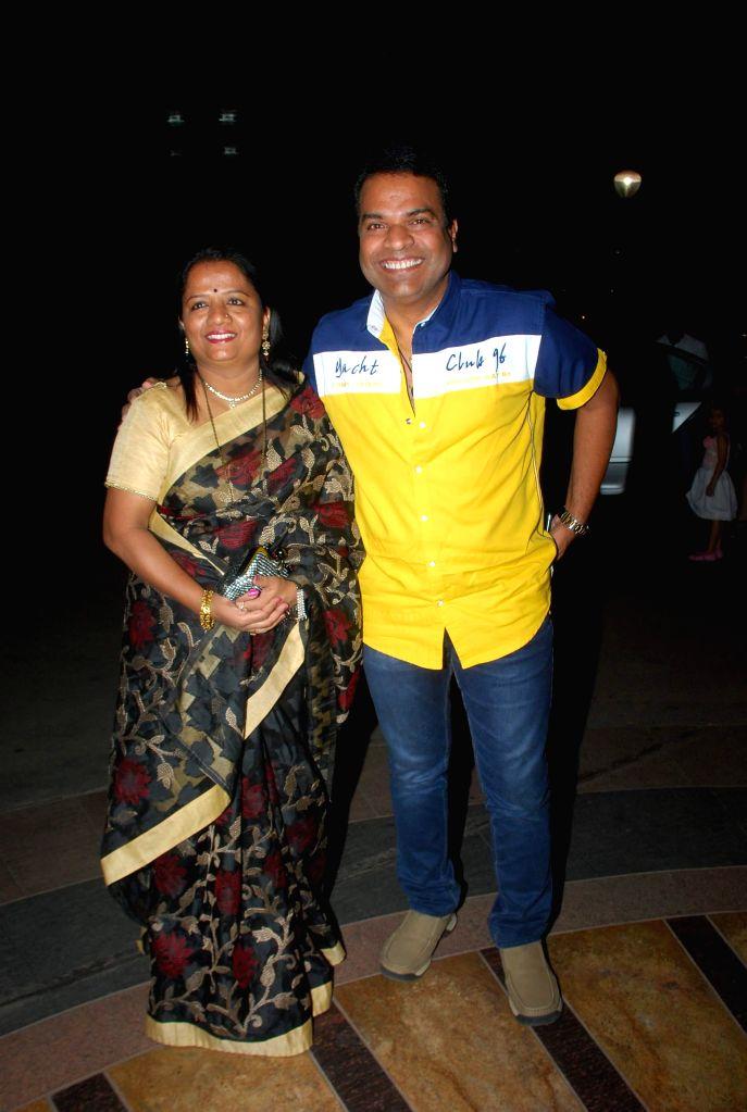 Marathi actor Bharat Jadhav with his wife Sarita Jadhav during the music launch of Marathi film Kaakan in Mumbai on March 11, 2015. - Bharat Jadhav