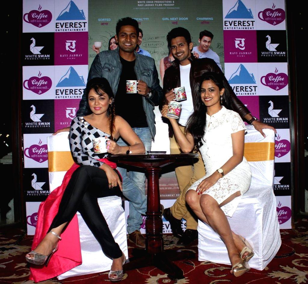 Marathi actors Bushan Pradhan, Neha Mahajan, Prathana Behre, Vaibhav Tatwawadi and Suyash Tilak during the music launch of Marathi film Coffee Ani Barach Kahi in Mumbai, on March 10, 2015. - Bushan Pradhan, Neha Mahajan, Prathana Behre, Vaibhav Tatwawadi and Suyash Tilak