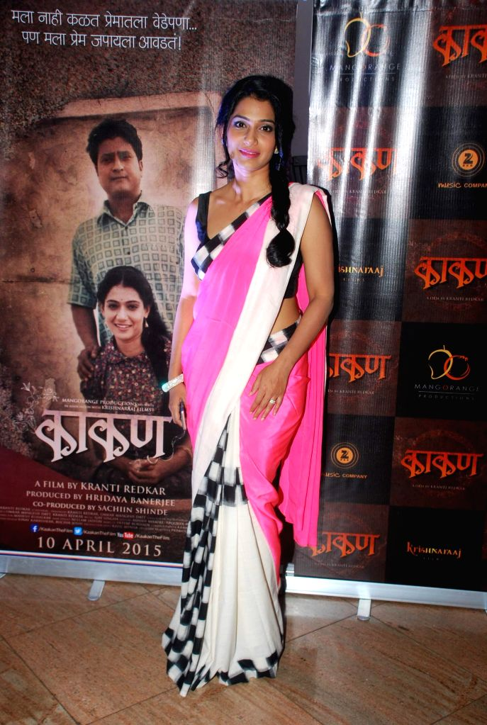 Marathi film actor Urmila Kanitkar during the music launch of Marathi film Kaakan in Mumbai on March 11, 2015. - Urmila Kanitkar