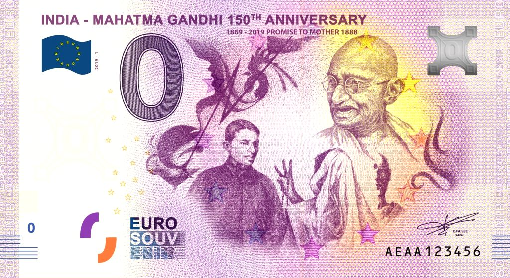 Mumbai: Marking the ongoing 150th birth anniversary of the Father of the Nation, Mohandas Karamchand Gandhi, a UAE-based company will release globally the first-ever 12 notes limited edition commemorative series of zero value.  (Photo: IANS) - Mohandas Karamchand Gandhi