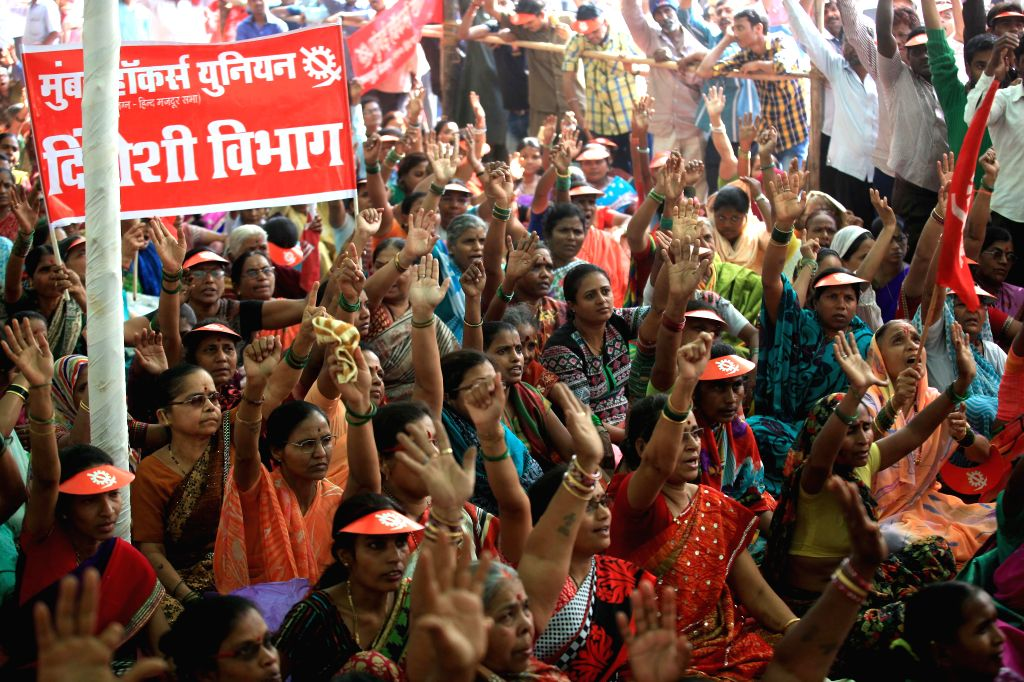 Member of hawkers union protesting against the government in Mumbai on Jan. 28, 2015.