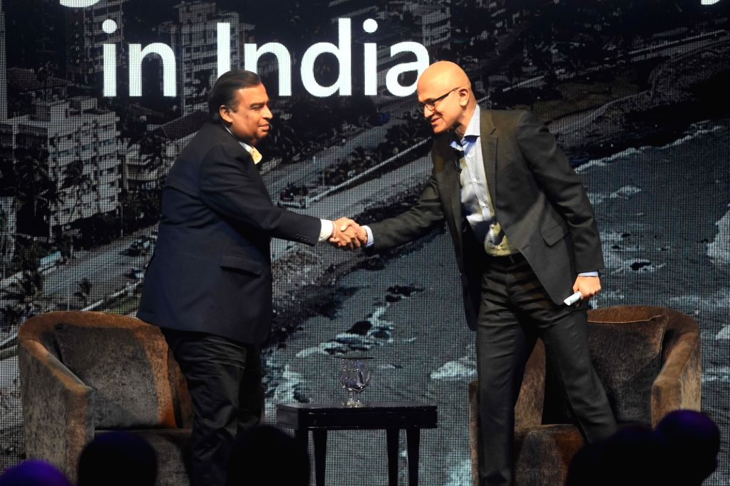 Mumbai: Microsoft CEO Satya Nadella and Reliance Industries Ltd. (RIL) Chairman and Managing Director Mukesh Ambani at the Microsoft CEO Summit in Mumbai on Feb 24, 2020. (Photo: IANS) - Mukesh Ambani