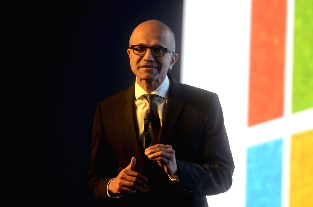 :Mumbai: Microsoft Chief Executive Officer Satya Nadella during the `Microsoft`s Future Unleashed' in Mumbai on Nov. 5, 2015. (Photo: IANS).