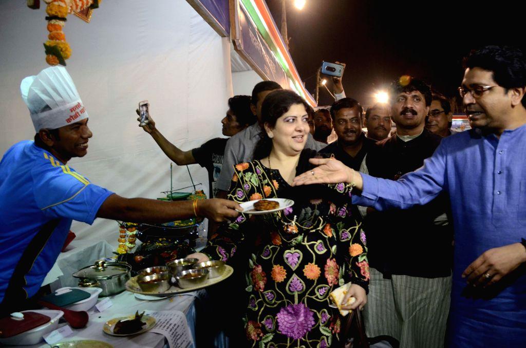 MNS chief Raj Thackeray and his wife Sharmila Thackeray at the inauguration of `Koli Festival` organised by the party in Mumbai, on Feb 13, 2015.
