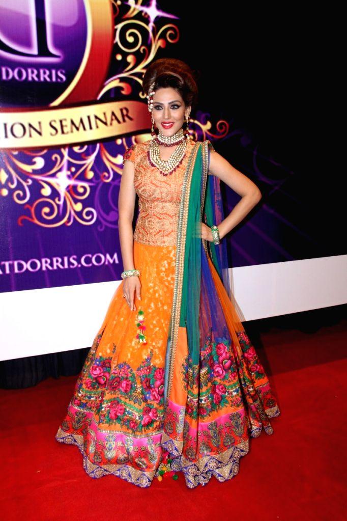 Model Sudeepa Singh during the Makeup and Hair Styling Seminar in Mumbai on April 14, 2015. - Sudeepa Singh