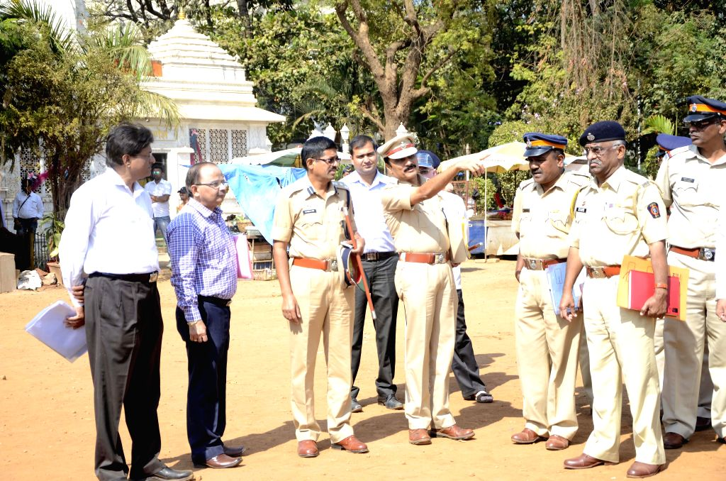 Mumbai Additional Commissioner of Police (ACP) R D Shinde, Mumbai Deputy Commissioner of Police (DCP) Mahesh Patil and BMC officers inspect preparations for Republic Day at Shivaji Park in ... - Mahesh Patil