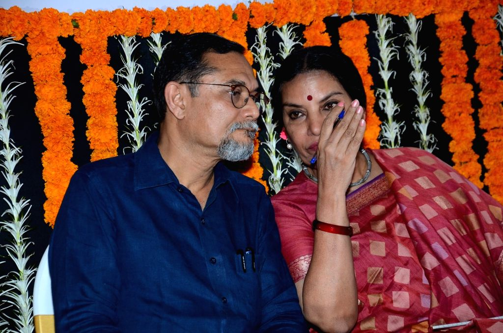 Mumbai based architect and activist P K Das and actress Shabana Azmi during an open session discussion on Development Plan 2014 to 2034 organised by MRCC in Mumbai on March 24, 2015. - Shabana Azmi