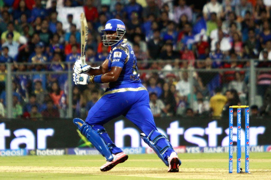 Mumbai Indians batsman Kieron Pollard in action during an IPL 2015 match between Rajasthan Royals and Mumbai Indians at the Wankhede Stadium in Mumbai, on May 1, 2015. - Kieron Pollard