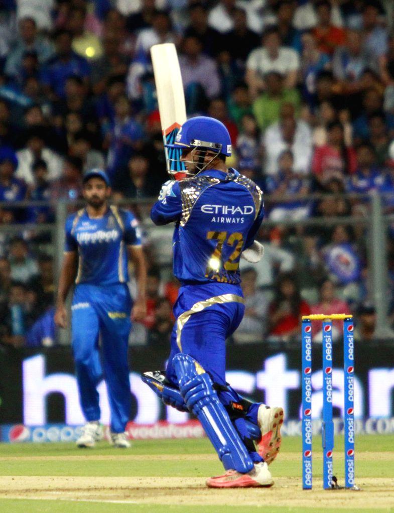Mumbai Indians batsman Parthiv Patel in action during an IPL 2015 match between Rajasthan Royals and Mumbai Indians at the Wankhede Stadium in Mumbai, on May 1, 2015. - Parthiv Patel