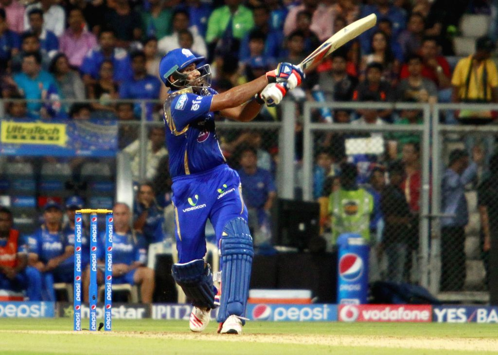 Mumbai Indians batsman Rohit Sharma in action during an IPL 2015 match between Rajasthan Royals and Mumbai Indians at the Wankhede Stadium in Mumbai, on May 1, 2015. - Rohit Sharma